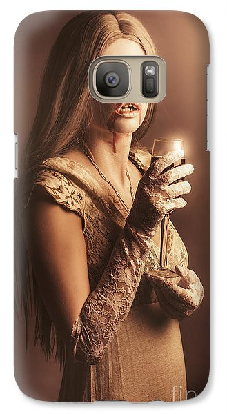 Spooky Vampire Girl Drinking A Glass Of Red Wine Galaxy S7 Case by Jorgo Photography - Wall Art Gallery