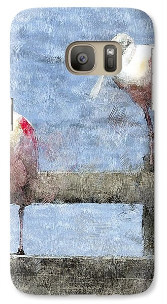 Spoonbills Hanging Out Galaxy S7 Case by Betty LaRue
