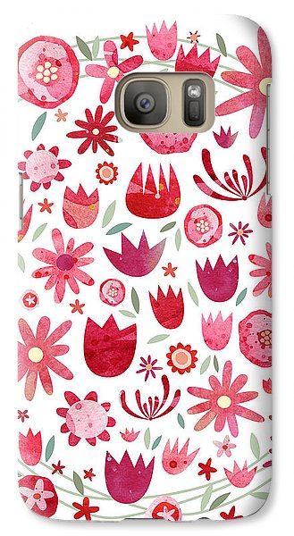 Summer Flower Circle Galaxy S7 Case by Nic Squirrell