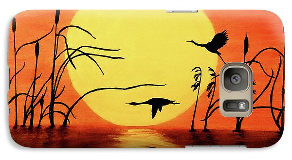 Sunset Geese Galaxy Case by Teresa Wing