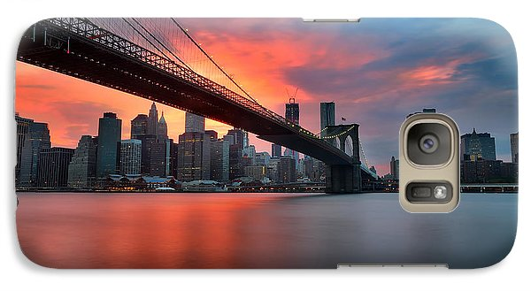 Sunset Over Manhattan Galaxy Case by Larry Marshall