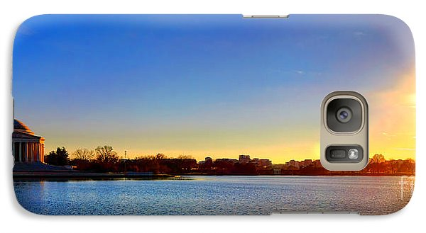 Sunset Over The Jefferson Memorial  Galaxy Case by Olivier Le Queinec