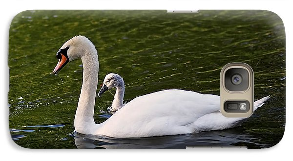 Swan Mother With Cygnet Galaxy Case by Rona Black