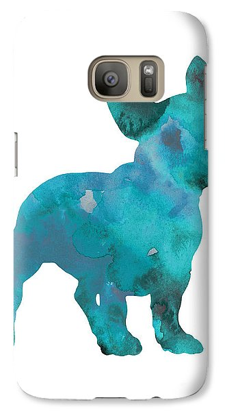 Teal Frenchie Abstract Painting Galaxy S7 Case by Joanna Szmerdt
