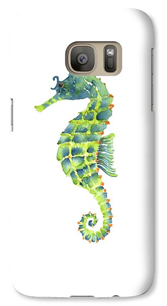 Teal Green Seahorse - Square Galaxy Case by Amy Kirkpatrick