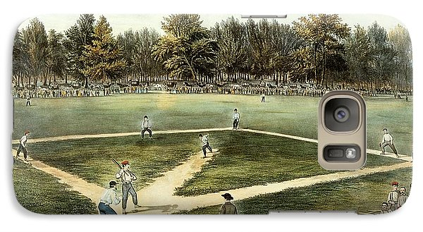 The American National Game Of Baseball Grand Match At Elysian Fields Galaxy Case by Currier and Ives