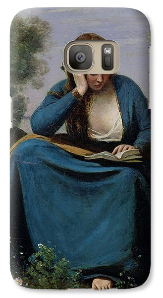 The Reader Crowned With Flowers Galaxy Case by Jean Baptiste Camille Corot