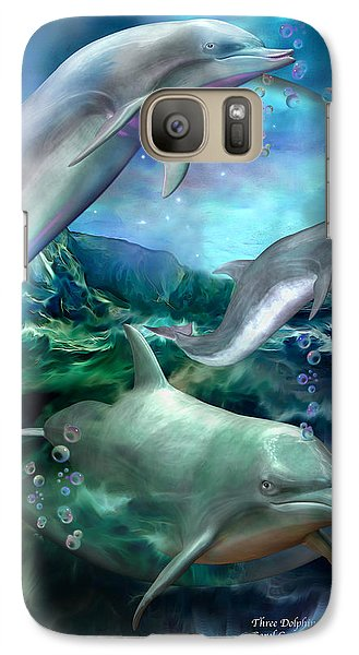 Three Dolphins Galaxy S7 Case by Carol Cavalaris