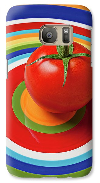 Tomato On Plate With Circles Galaxy S7 Case by Garry Gay