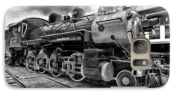 Train - Steam Engine Locomotive 385 In Black And White Galaxy S7 Case by Paul Ward