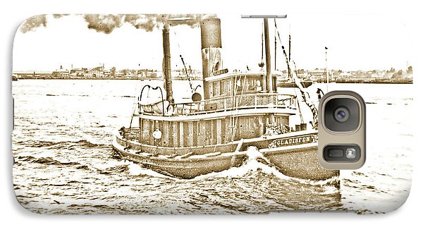 Galaxy Case featuring the photograph Tugboat Gladisfen Hudson River C 1900 Vintage Photograph by A Gurmankin