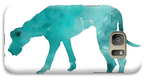 Turquoise Great Dane Watercolor Art Print Paitning Galaxy Case by Joanna Szmerdt