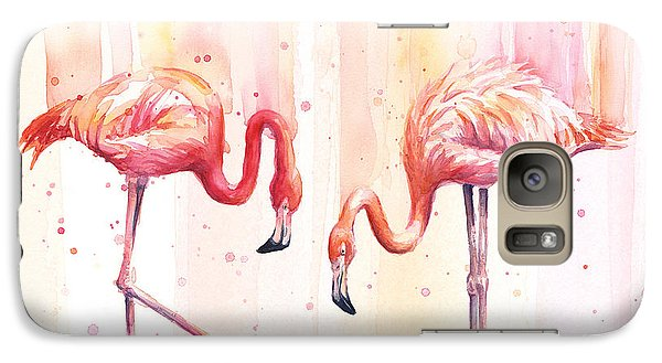 Two Flamingos Watercolor Galaxy S7 Case by Olga Shvartsur