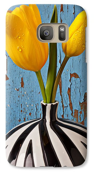 Two Yellow Tulips Galaxy Case by Garry Gay