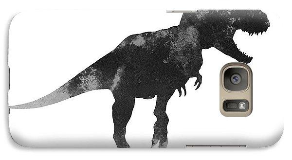Tyrannosaurus Figurine Watercolor Painting Galaxy Case by Joanna Szmerdt