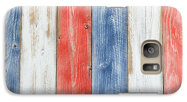 Vertical Stressed Boards Painted In Usa National Colors Galaxy S7 Case by Thomas Baker