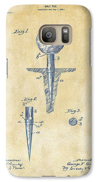 Vintage 1899 Golf Tee Patent Artwork Galaxy S7 Case by Nikki Marie Smith