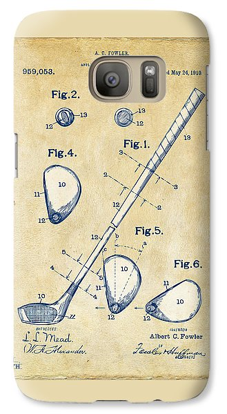 Vintage 1910 Golf Club Patent Artwork Galaxy S7 Case by Nikki Marie Smith