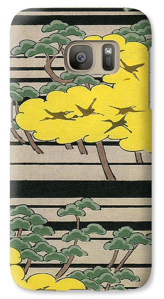 Vintage Japanese Illustration Of An Abstract Forest Landscape With Flying Cranes Galaxy S7 Case by Japanese School
