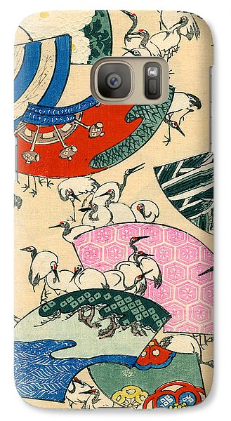 Vintage Japanese Illustration Of Fans And Cranes Galaxy S7 Case by Japanese School