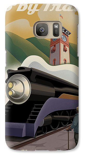 Vintage Union Station Train Poster Galaxy Case by Mitch Frey