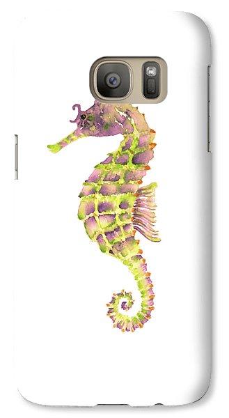 Violet Green Seahorse Galaxy Case by Amy Kirkpatrick