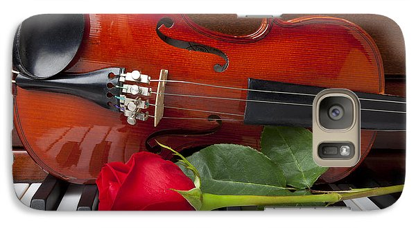Violin With Rose On Piano Galaxy Case by Garry Gay