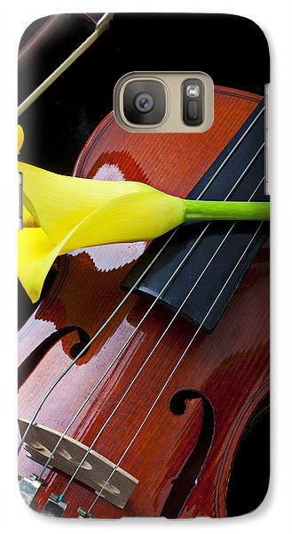 Violin With Yellow Calla Lily Galaxy Case by Garry Gay