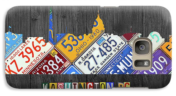 Washington Dc Skyline Recycled Vintage License Plate Art Galaxy Case by Design Turnpike