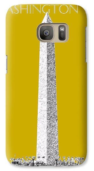 Washington Dc Skyline Washington Monument - Gold Galaxy S7 Case by DB Artist
