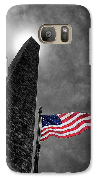 Washington Monument And The Stars And Stripes Galaxy Case by Andrew Soundarajan