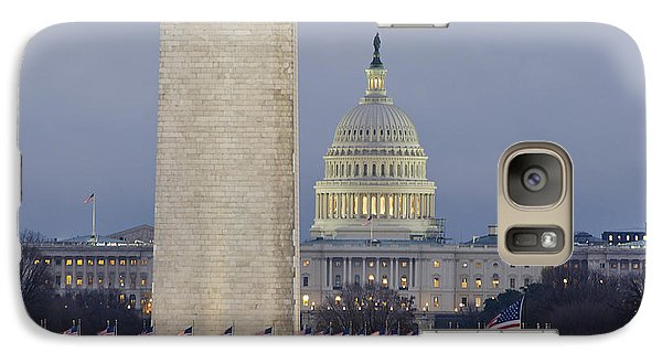 Washington Monument And United States Capitol Buildings - Washington Dc Galaxy Case by Brendan Reals