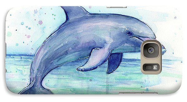 Watercolor Dolphin Painting - Facing Right Galaxy S7 Case by Olga Shvartsur