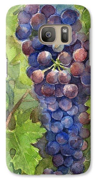 Watercolor Grapes Painting Galaxy Case by Olga Shvartsur