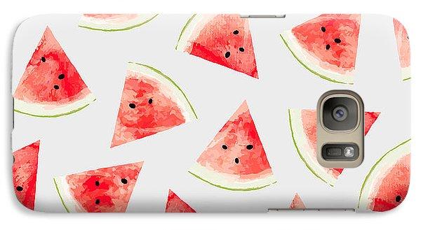 Watercolor Watermelon Pattern Galaxy Case by Uma Gokhale