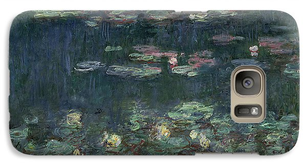 Waterlilies Green Reflections Galaxy Case by Claude Monet