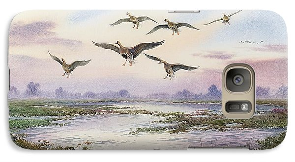 White-fronted Geese Alighting Galaxy S7 Case by Carl Donner