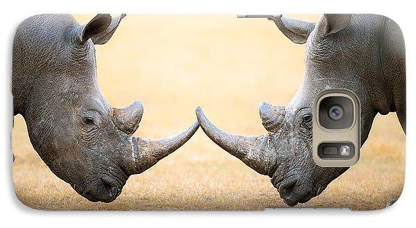 White Rhinoceros  Head To Head Galaxy S7 Case by Johan Swanepoel