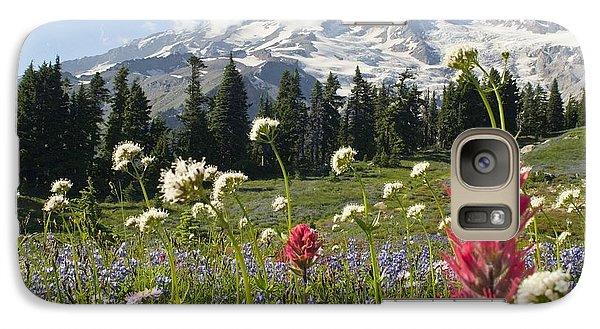 Wildflowers In Mount Rainier National Galaxy S7 Case by Dan Sherwood