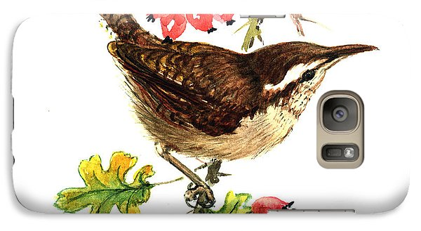 Wren And Rosehips Galaxy Case by Nell Hill