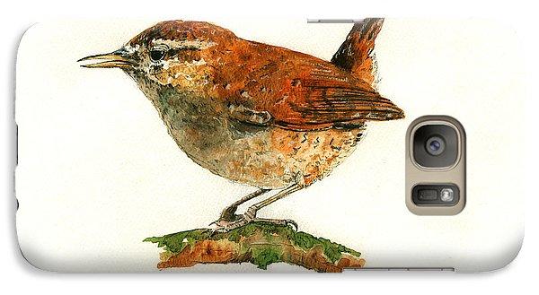 Wren Bird Art Painting Galaxy Case by Juan  Bosco