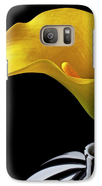 Yellow Calla Lily In Black And White Vase Galaxy Case by Garry Gay