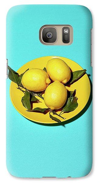 Yellow Lemons On Cyan Galaxy S7 Case by Oleg Cherneikin