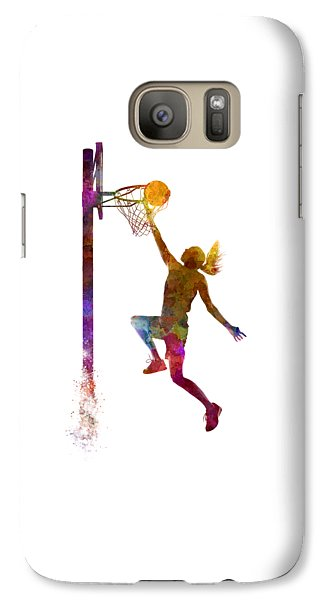 Young Woman Basketball Player 04 In Watercolor Galaxy S7 Case by Pablo Romero