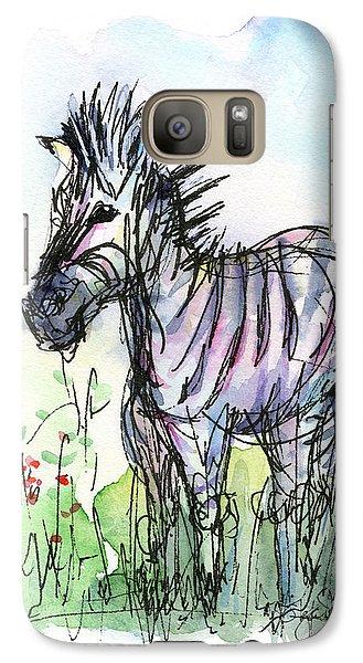 Zebra Painting Watercolor Sketch Galaxy Case by Olga Shvartsur