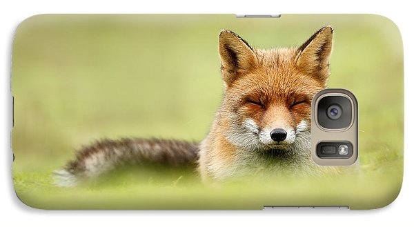 Zen Fox Series - Zen Fox In A Sea Of Green Galaxy Case by Roeselien Raimond