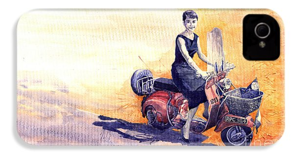 Audrey Hepburn And Vespa In Roma Holidey  IPhone 4 / 4s Case by Yuriy  Shevchuk