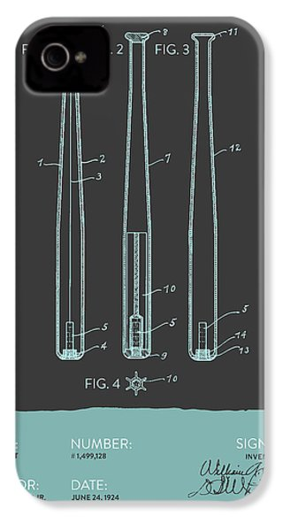 Baseball Bat Patent From 1924 - Gray Blue IPhone 4 / 4s Case by Aged Pixel