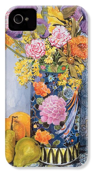 Iris And Pinks In A Japanese Vase With Pears IPhone 4 / 4s Case by Joan Thewsey