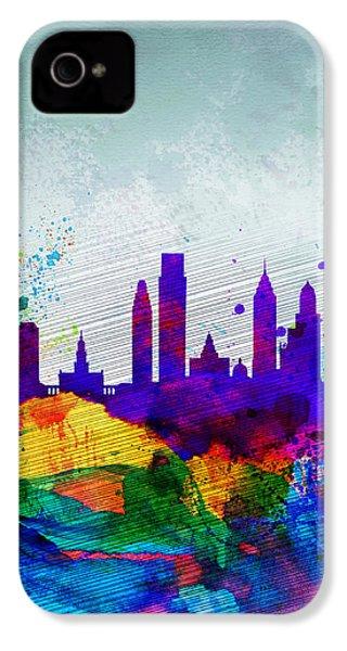 Philadelphia Watercolor Skyline IPhone 4 / 4s Case by Naxart Studio